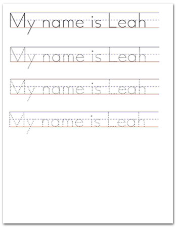 worksheet sample for English handwriting